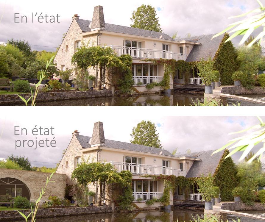 insertion d'image en 3D sur fond photo d'une propriété de luxe  ocoeurdesplans