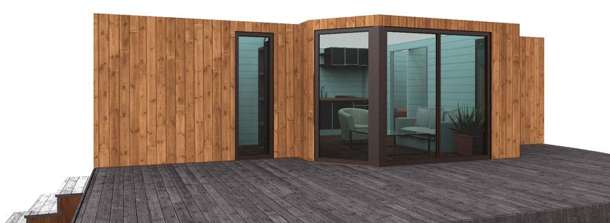 élévation d'une réhabilitation de mobile home avec bardage bois extérieur
