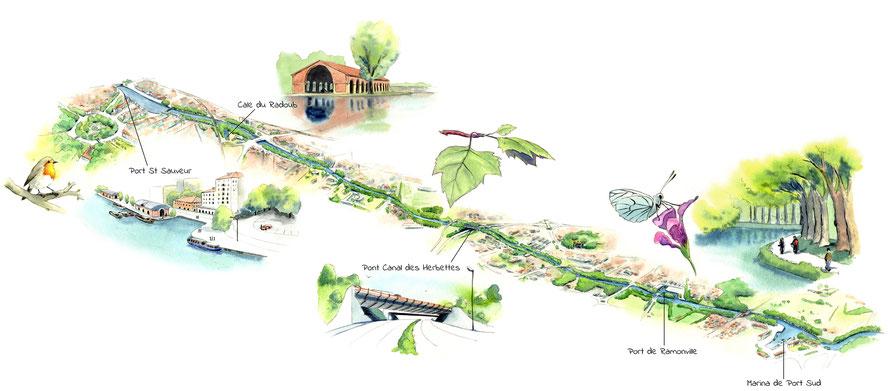 plan illustré, cartographie, carte, touristique, tourisme, nature