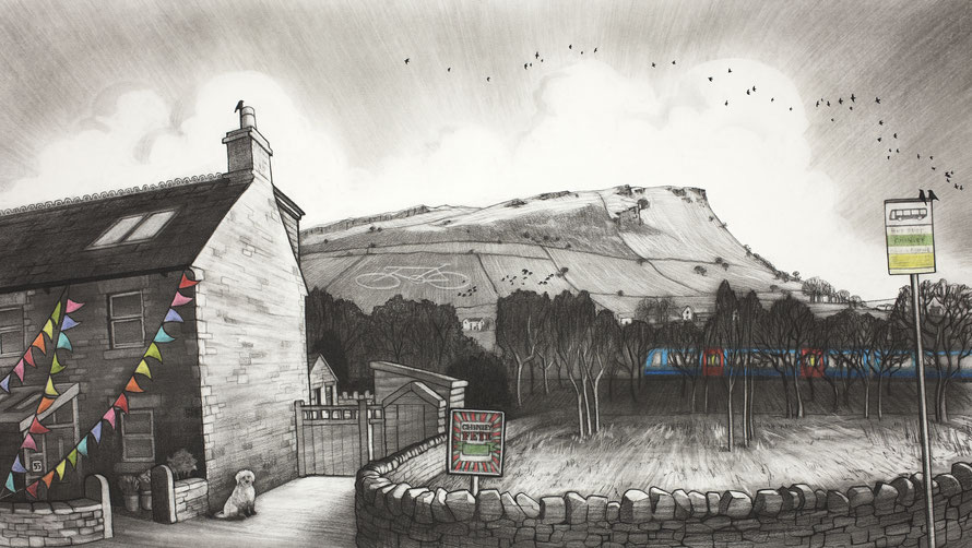 Clare Allan, Chinley, charcoal, Cracken Edge