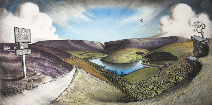 Clare Allan, Kinder Scout, Mass Trespass, Hayfield charcoal