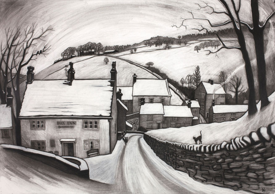 Brookbottom, Clare Allan, charcoal, High Peak