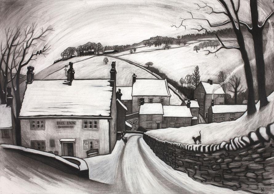 Brookbottom, Clare Allan, charcoal, High Peak