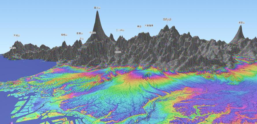 図1 埼玉県最南部から富士山方向を望む3DのRCマップ(杉中氏作成.縦スケールを10倍,標高10m未満は1m、10m以上は10mごとに色付けしている).ピンク色の等高線は,大宮台地では10m,武蔵野台地の中央で100m,同台地の付け根の青梅付近で200mを示す.