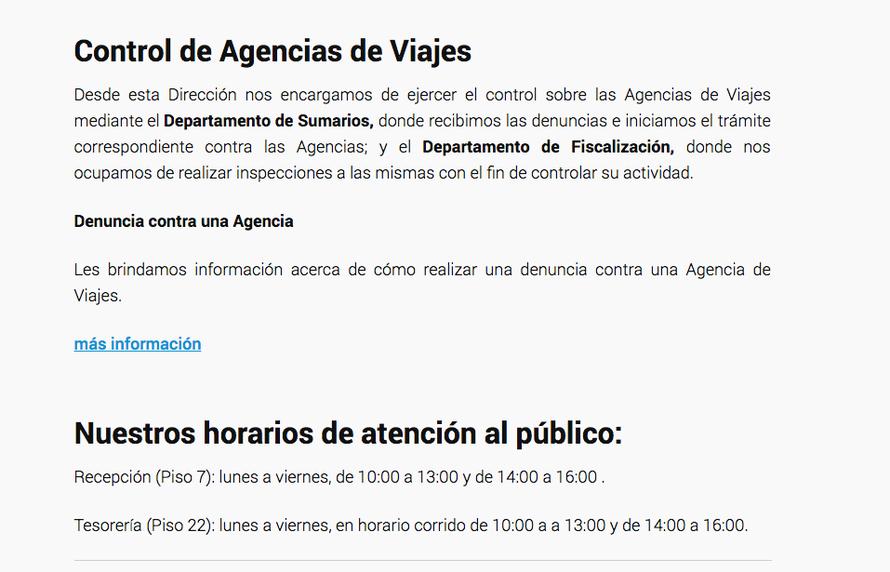 Ministerio de Turismo de Argentina Viajes Control
