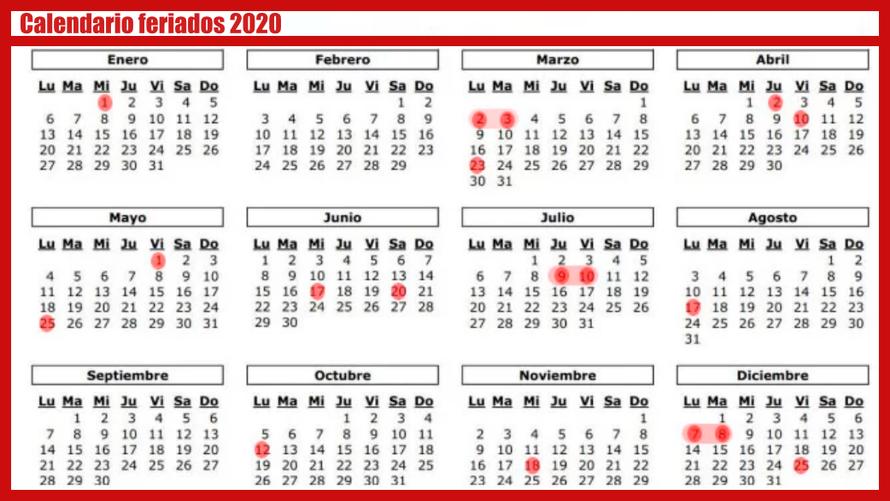 Calendario Feriados 2020 en Argentina