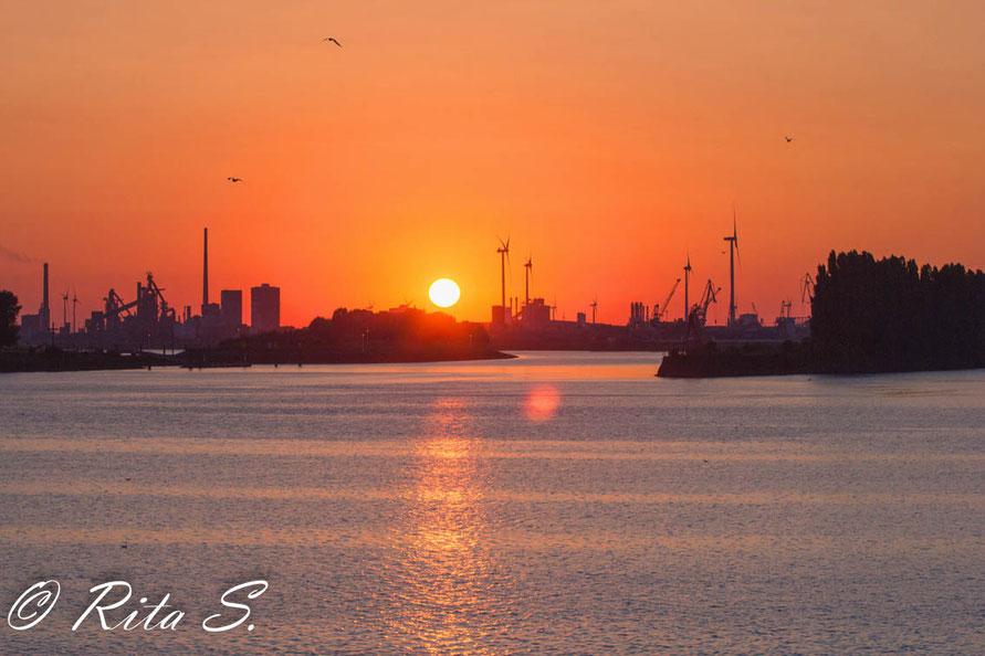 Sonnenuntergang am Industriehafen (Bremen)