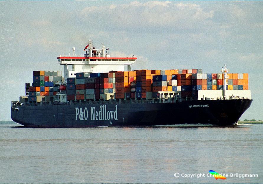 Containerschiff P&O NEDLLOYD DRAKE, Elbe 2001