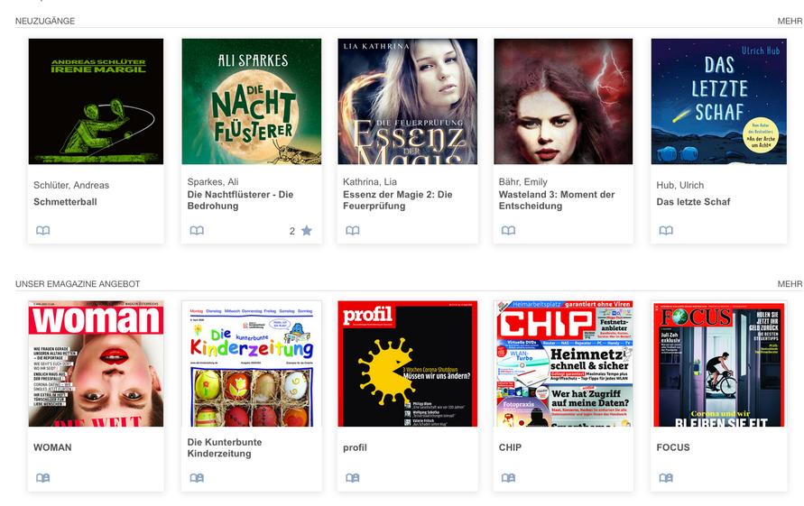 Neben dem Zugriff auf Bücher bietet die Online-Bibliothek auch ein breites Angebot an aktuellen Medien.