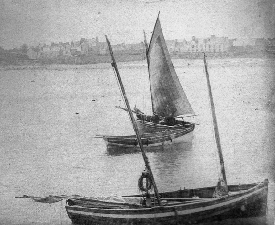 Péniche au port de Roscoff vers 1895 (Photo mis en ligne par Pierre Cuzon)