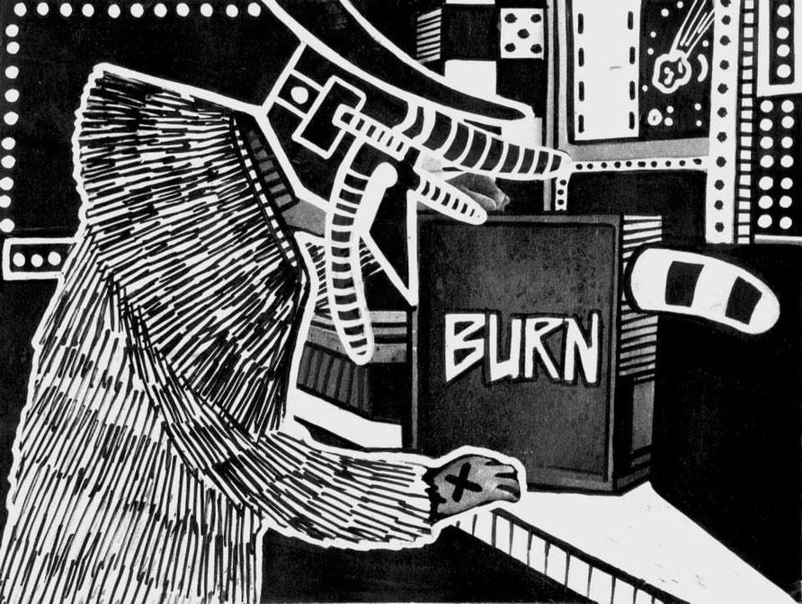 BURN -14/10cm - encre sur impression- 2015