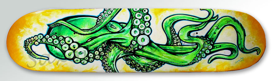 Octopus skateboard painting