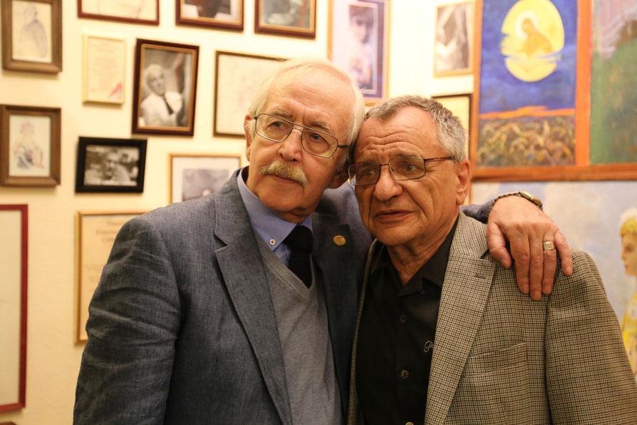 Василий Борисович Ливанов и Рудольф Давыдович Фурманов. Перед началом эфира Десятой Театральной гостиной. 1 июля 2015 года