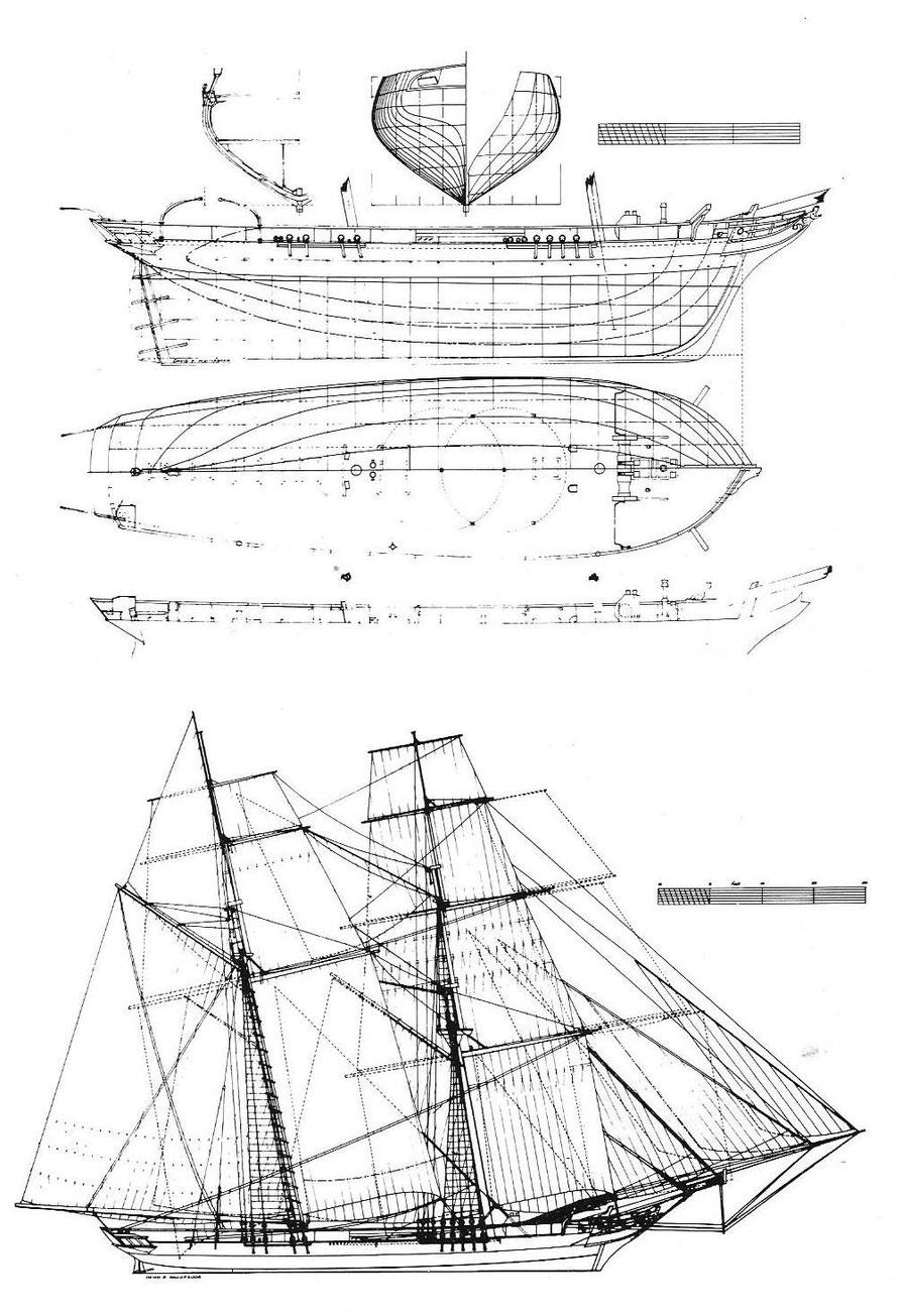 Plan du brick négrier Dolphin capturé en 1836, les formes de son maitre couple sont particulièrement élégantes