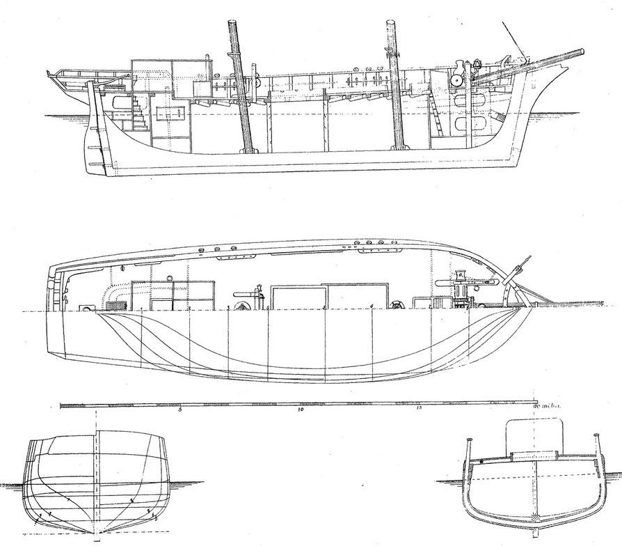 Plan des formes et d'aménagements de la goélette Léonie Cécile levée en 1866 à Paimpol (Souvenir de marine de l'Amiral Paris)