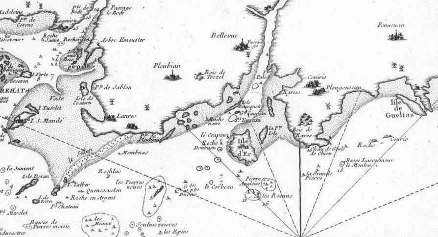Extrait de la carte de Belin 1764 De l'Ile Maudez à l'ile St Gildas