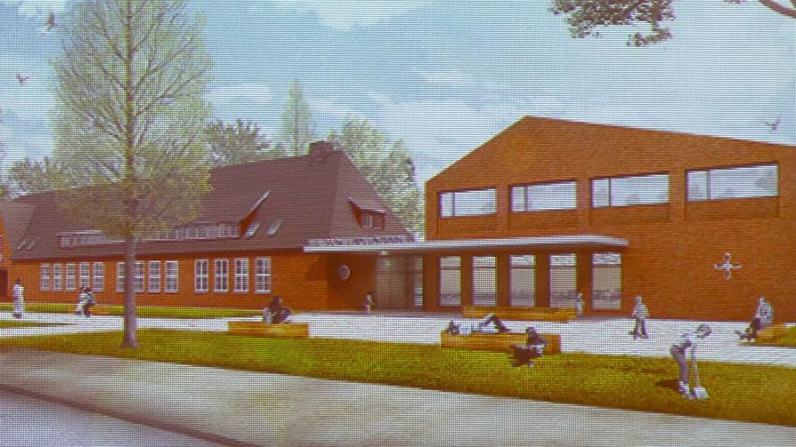 So soll nach den derzeitigen Plänen der Verwaltung der Eingangsbereich der Waldschule aussehen