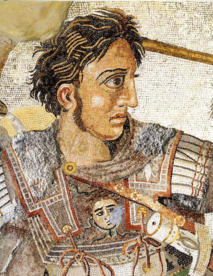 Alexander der Große (Ausschnitt aus dem wohl in der zweiten Hälte des 2. Jh. v. Chr. entstanden Alexandermosaik nach dem Vorbild eines griechischen Gemäldes (Haus des Faun (Pompeii)) (Archiv Hölscher)