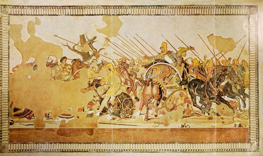 Alexander-Mosaik (Pompeii /100 v. Chr./entstand nach einem Vorbild wohl des 3. Jh. v. Chr. ) wohl Schlacht bei Gaugamela 331 v. Chr. oder bei Issos 333 v. Chr. (Archiv Hölscher)