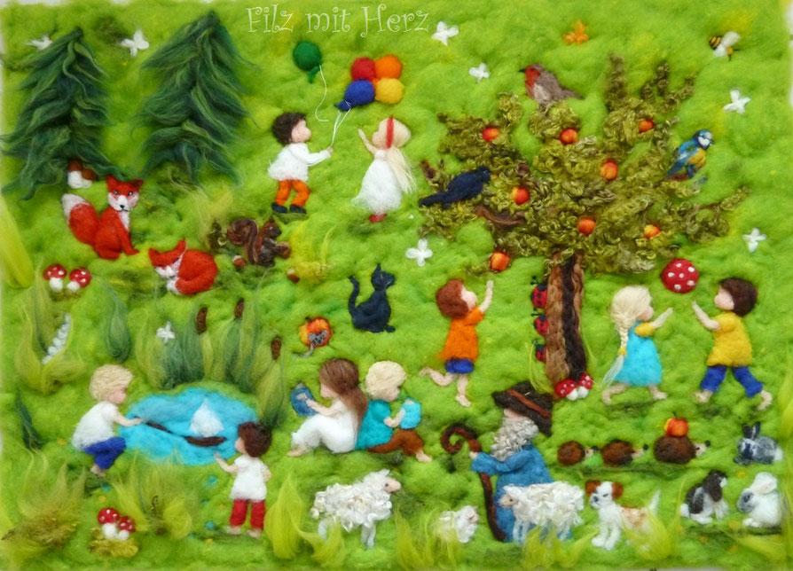 """""""Wimmel-Wollbild"""" 70x50cm (andere Maße sind ebenfalls möglich) - Filz mit Herz Filzbilder aus Märchenwolle"""
