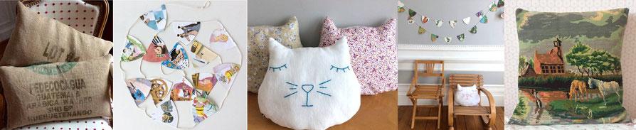 créations fait main made in France pièces uniques recyclage upcycling coussins sac de café et guirlandes chambres d'enfants