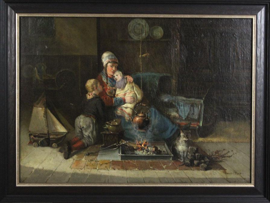 te_koop_aangeboden_een_interieur_en_genre_schilderij_van_de_nederlandse_kunstschilder_jan_jacob_lodewijk_ten_kate_1850-1929_hollandse_romantiek