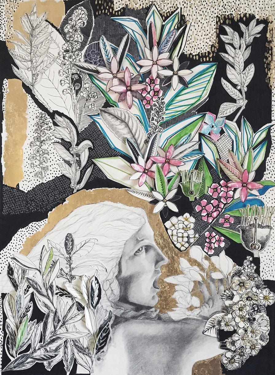 grafite, inchiostro, foglia similoro, ottone , collage, su carta
