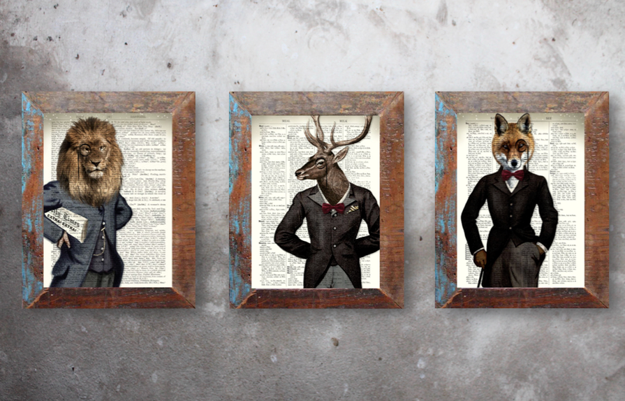 Antike Illustrationen Steampunk Kunstdruck Tiere Fauna im Kostüm Vintage Anzug Fabelwesen Nostalgie Druck Bild im Fundholz Recycling Bilderrahmen