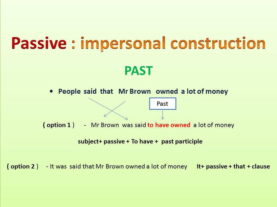 Impersonal passive en inglés
