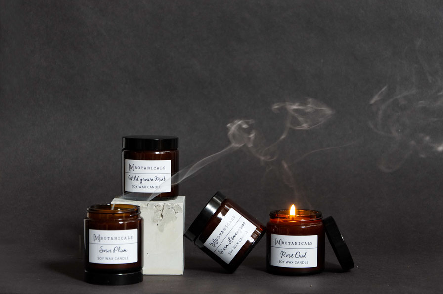 Styled product photography by PASiNGA with concrete cube prop for MBotanicals scented candles