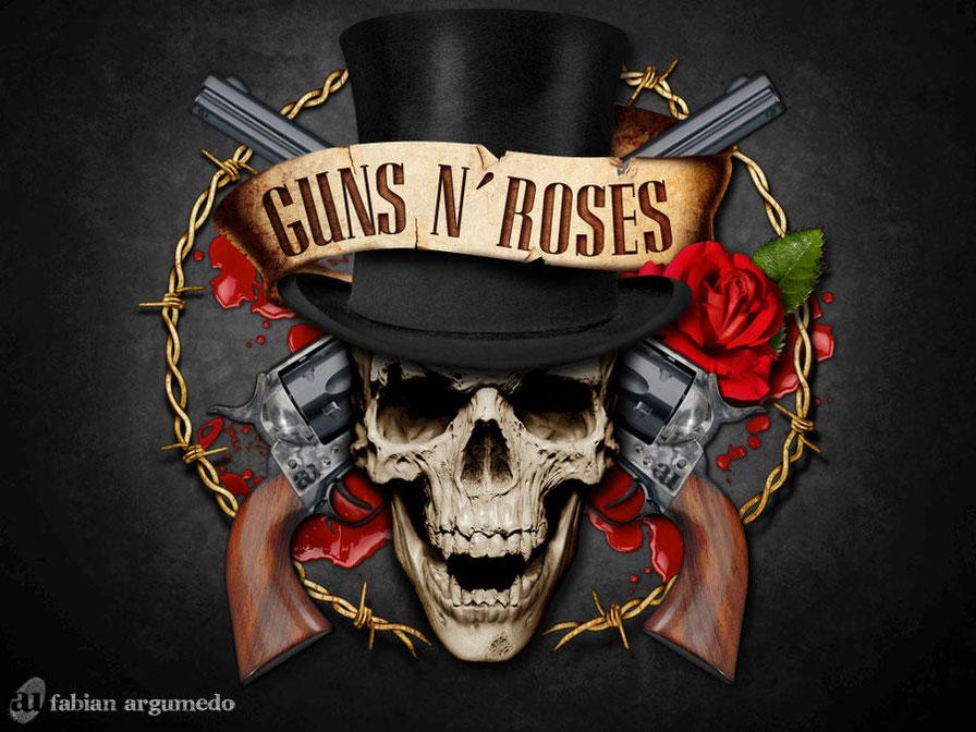 immagine teschio e pistole e rose dei guns 'n' roses