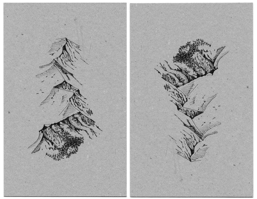 © 180°, Tusche auf Karton, A5, Bimo, 2020