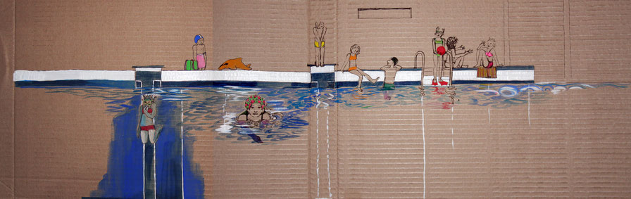 public pool, sketch on cardboard 20x75, sold