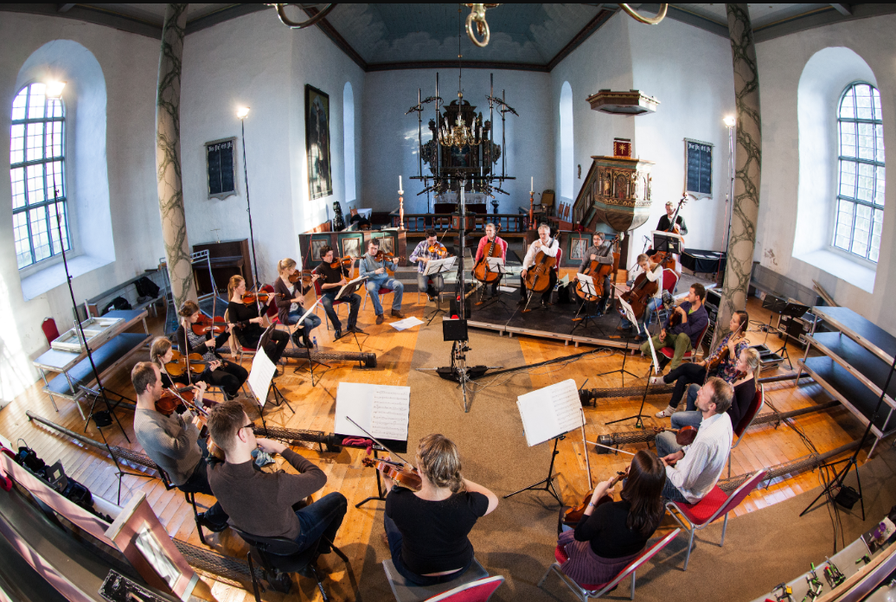 The recording sessions in Selbu Church Trondheim, October 2011: Photo by Morten Lindberg