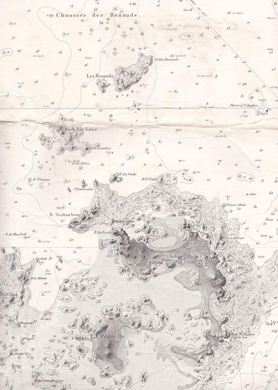 L'île d'Er ancienne carte SHOM 972,  la corvette « Assemblée Nationale » a sombrée sur le plateau des Petits Renaud