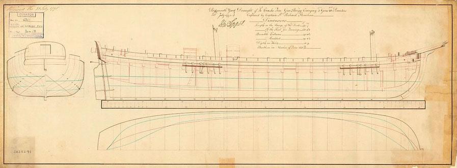 Plan du Brick canonnière le « Crache feux » capturé par la marine anglaise en 1795