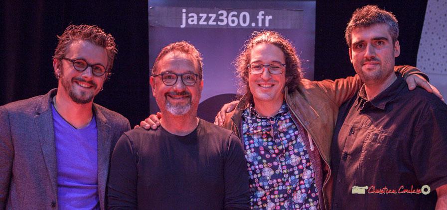 Docteur Nietzsche Quartet, Festival JAZZ360 2019, Saint-Caprais-de-Bordeaux, mercredi 5 juin 2019. Valentin Foulon, saxophone; François Mary, contrebasse; David Muris, batterie; Jean-François Valade, guitare.