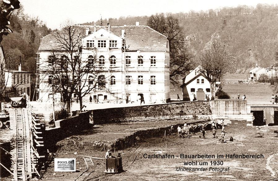 Carlshafen - Aufwendige Bauarbeiten im Hafen um 1930