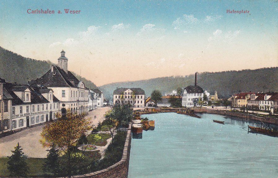 Foto des Hafenareals um 1920 - Karte CTM 3678 der Hof-Kunstanstalt Carl Thoericht, Hann-Münden