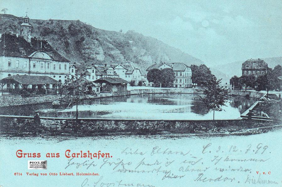 Fotografie des Hafenbeckens aus der Zeit um 1898/99 aus dem Verlag von Otto Liebert  [Sammlung Arnemann]