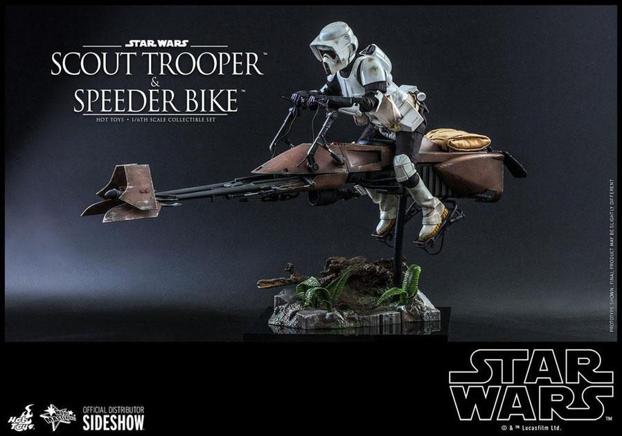 Scout Trooper & Speeder Bike 1/6 Star Wars Episode VI Actionfigur Set 52,5cm / 30cm Hot Toys