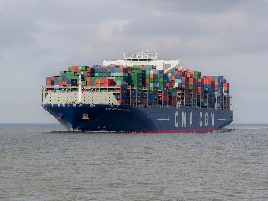 """Die """"CMA - CGM Vasco da Gama"""", sie kann bis zu rund 18.000 TEU laden"""