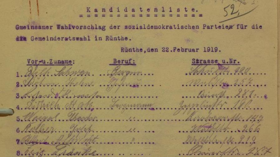 Wahlliste der SPD Rünthe aus dem Jahre 1919.