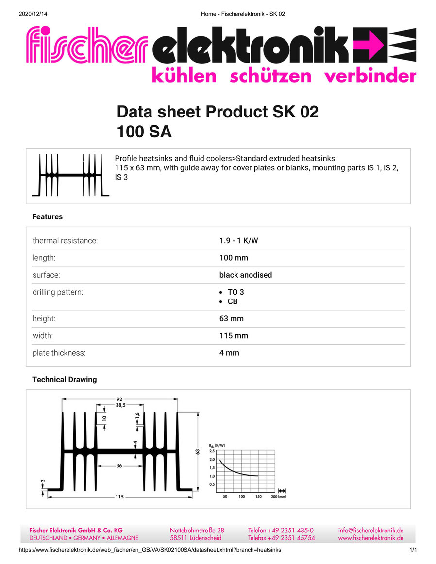 SK02-100-SA Fischer 押出成型 ヒートシンク