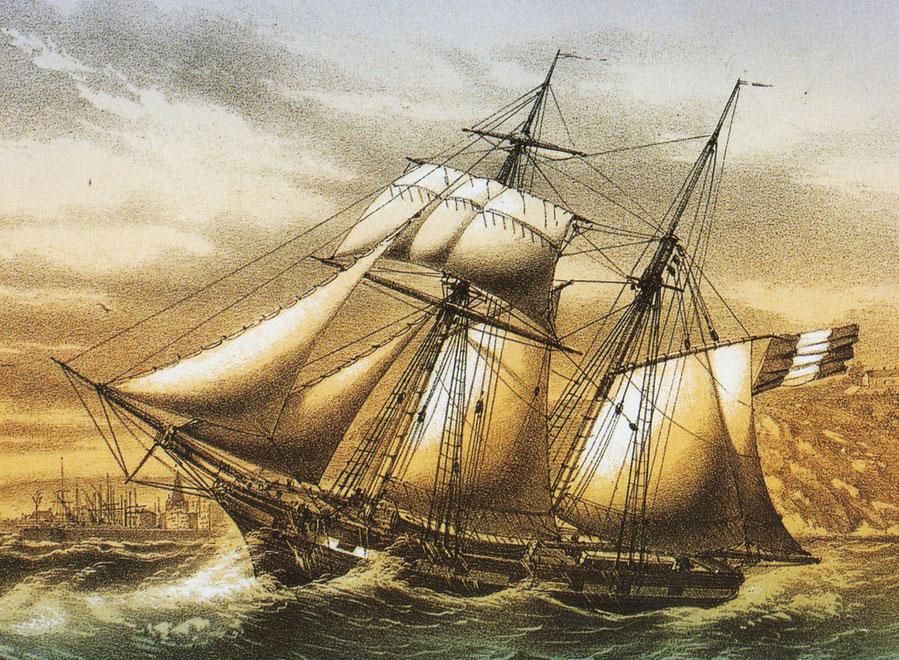Goélette de cabotage  vers 1840, la peinture  à fausse batterie noire et blanche est très courante au XIXème  gravure de Louis le Breton.