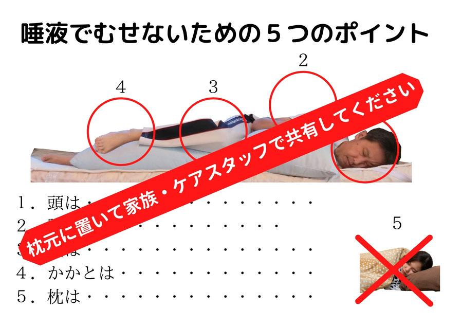 唾液でむせないための5つのポイント 枕元に置いて家族・ケアスタッフで共有してください
