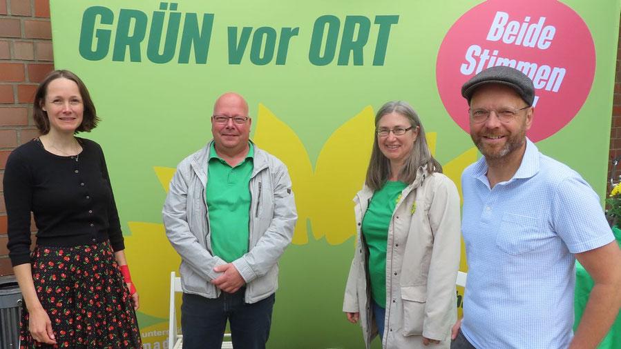 Warben für die Grünen: Dr. Ingrid Nestle, Dirk Salewsky, Pamela Masou und Jens Herrndorff