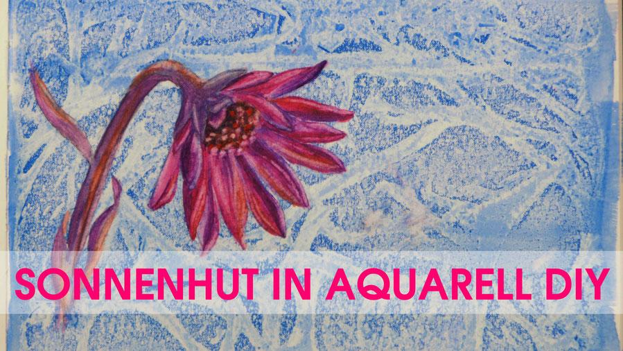 Inspiration - Sonnenhut mit Krokussen in Aquarell malen - DIY-Projekt