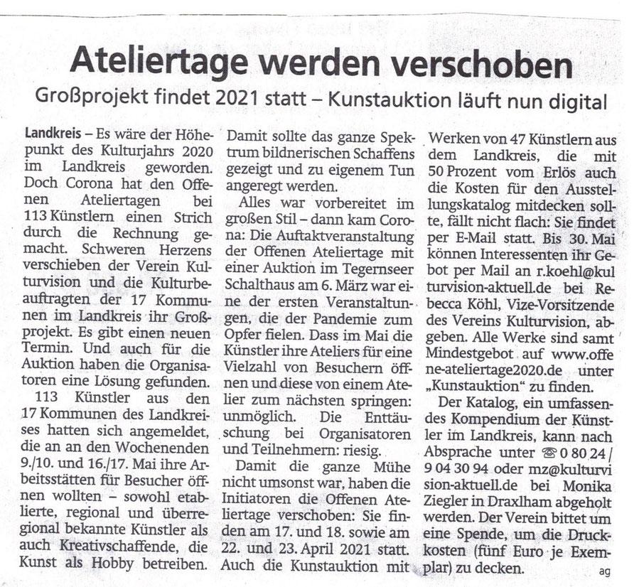 Tegernseer Zeitung vom 27.  April 2020