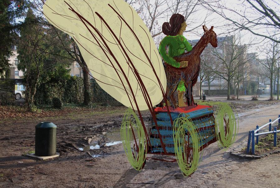 Ein Karnevalswagen zeigte sich am Veilchendienstag im Genovevahof – trotz Corona.
